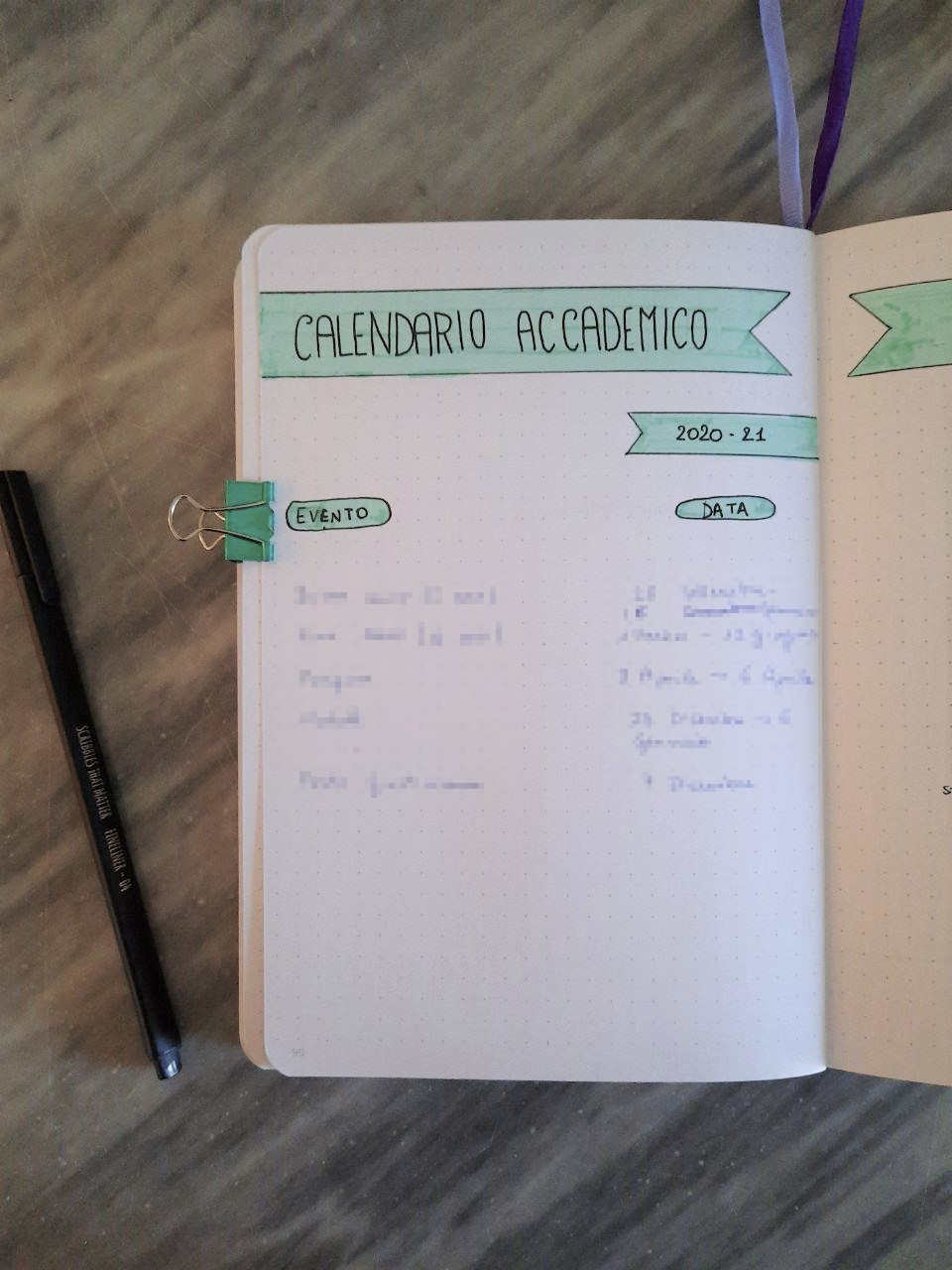 bullet journal per l'università calendario accademico