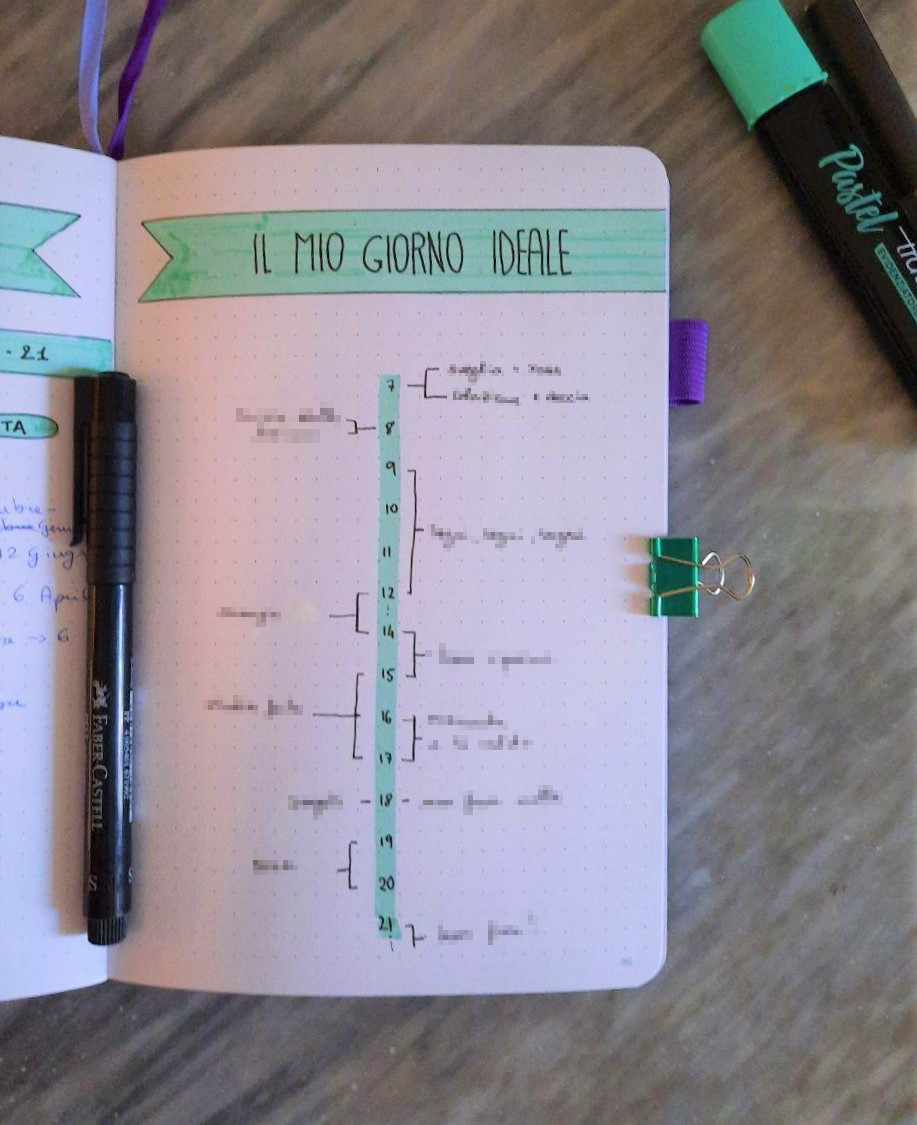 bullet journal per l'università pagina my ideal day