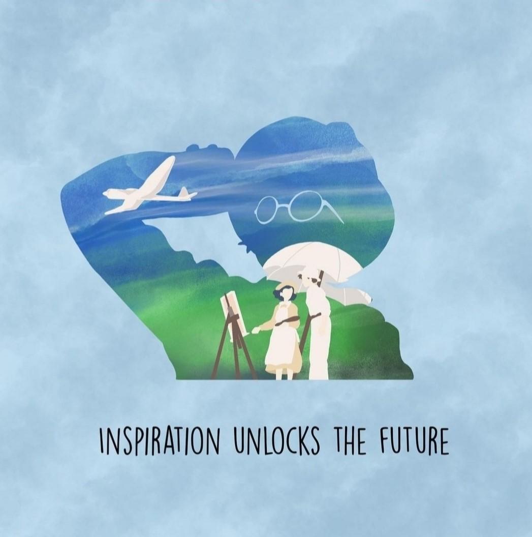 """Immagine ispirata a """"Si alza il vento"""" - Miyazaki con testo: """"Inspiration unlocks the future"""""""